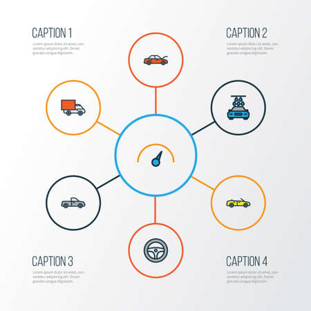 Car Colorful Outline Icons Set. Collection Of Sport, Bonnet, Rudder And Other Elements Illustration