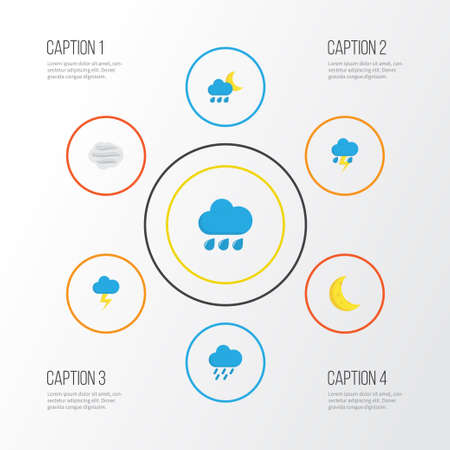 Weather Flat Icons Set. Collection Of Windy, Shower, The Flash And Other Elements Illustration