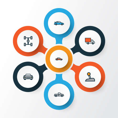 Auto Colorful Outline Icons Set. Collection Of Automobile, Car, Carcass And Other Elements Illustration