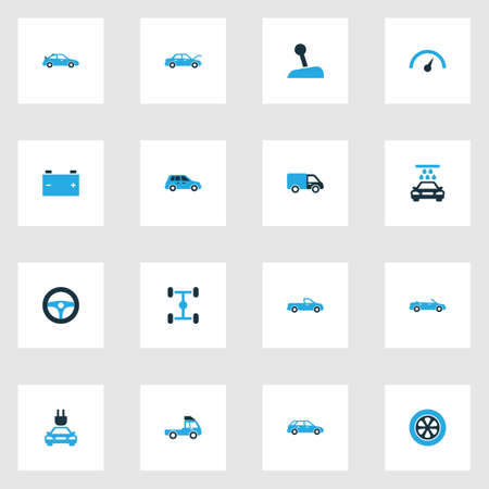 Car Colorful Icons Set. Collection Of Pickup, Tie, Chassis And Other Elements Illustration