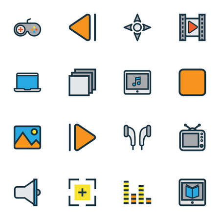 screen: Multimedia Colorful Outline Icons Set. Collection Of Equalizer, Picture, Target And Other Elements