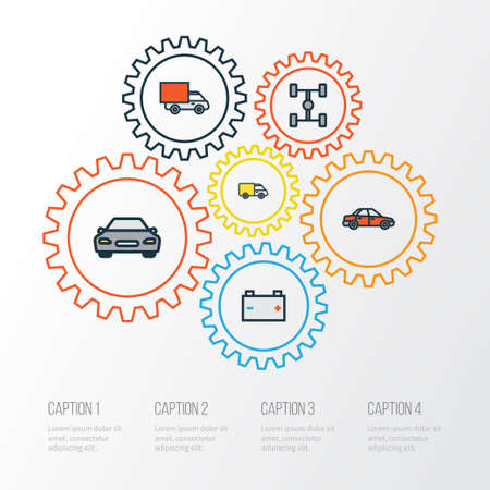 Car Colorful Outline Icons Set. Collection Of Carcass, Accumulator, Van And Other Elements