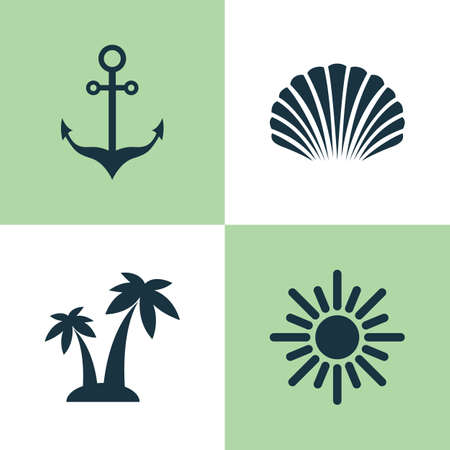 Sun Icons Set. Collection Of Conch, Sunny, Armature And Other Elements