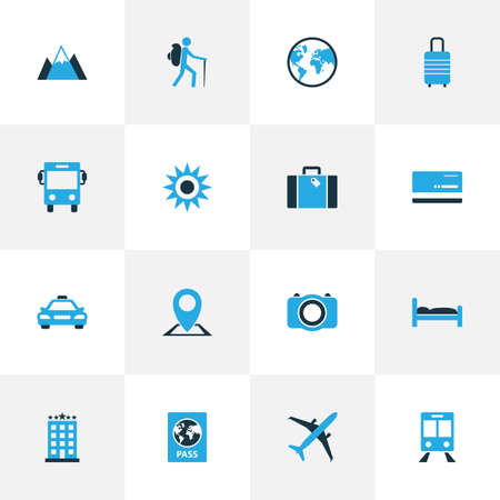 omnibus: Journey Colorful Icons Set. Collection Of Bed, Train, Bus And Other Elements