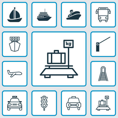 schoolbus: Transport Icons Set. Collection Of Baggage, Ship, Taxi And Other Elements
