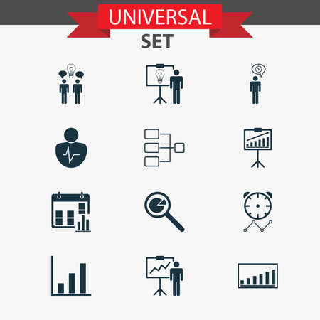 Management Icons Set. Collection Of System Structure, Special Demonstration, Company Statistics And Other Elements