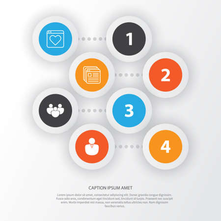 Web Icons Set. Collection Of Team, Followed Website, Website Bookmarks And Other Elements