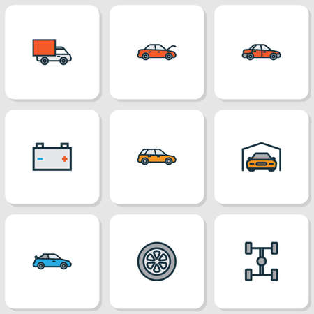 shaft: Auto Colorful Outline Icons Set. Collection Of Carcass, Drive, Van And Other Elements