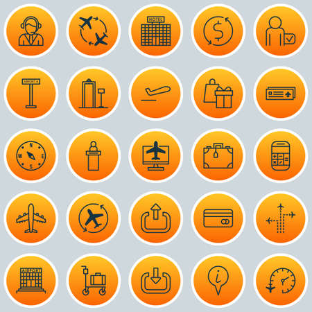 transact: Airport Icons Set. Collection Of Flight Path, Airliner, Airport Card And Other Elements