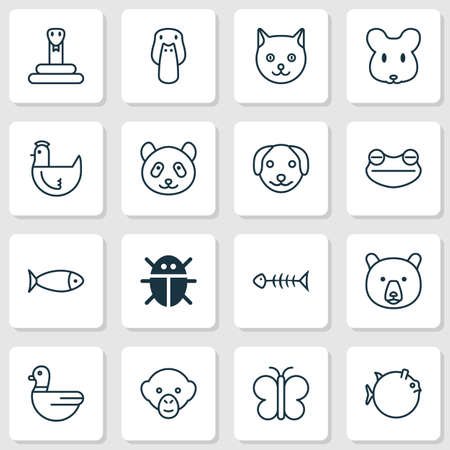 Nature Icons Set. Collection Of Goose, Seafood Skeleton, Duck And Other Elements