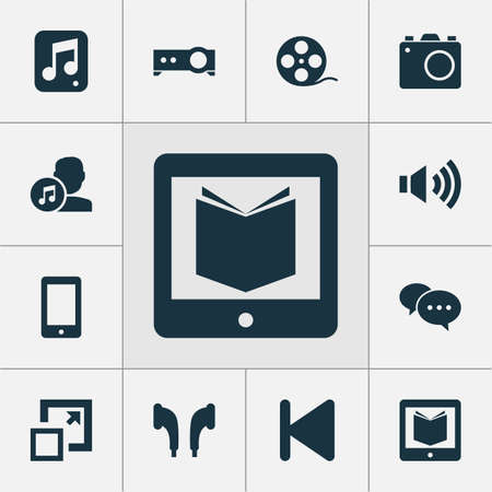 Media Icons Set. Collection Of Megaphone, File, Presentation And Other Elements