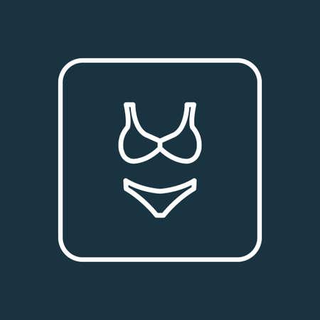 Premium Quality Isolated Beachwear Element In Trendy Style.  Bikini Outline Symbol.