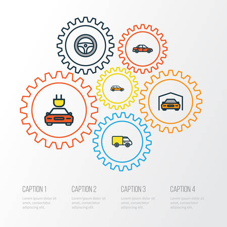 Auto Colorful Outline Icons Set. Illustration
