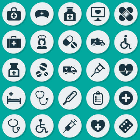 polyclinic: Antibiotic Icons Set. Collection Of Rhythm, Disabled, Drug And Other Elements