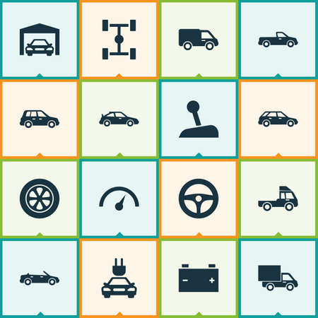 Auto Icons Set. Collection Of Chronometer, Van, Car And Other Elements