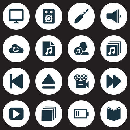 melodist: Media Icons Set. Collection Of Composer, Start, Play And Other Elements