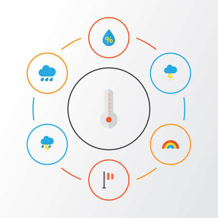 Climate Flat Icons Set. Collection Of Banner, The Flash, Lightning And Other Elements Illustration