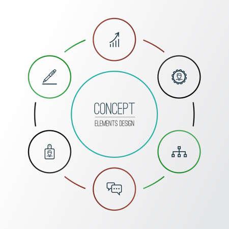 Baanoverzicht Icons Set. Verzameling van identificatie, structuur, groeiende grafiek en andere elementen Stock Illustratie