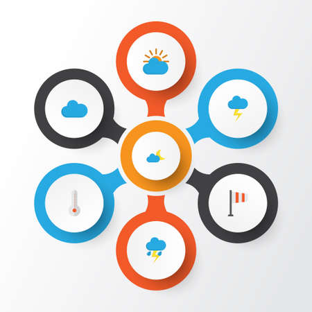 Climate Flat Icons Set. Collection Of The Flash, Lightning, Crescent And Other Elements Illustration