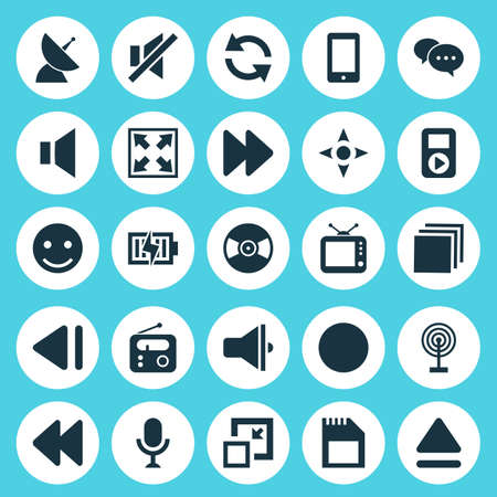 silent: Media Icons Set. Collection Of Arrow, Bullhorn, Next And Other Elements. Also Includes Symbols Such As Sync, Top, Telephone.