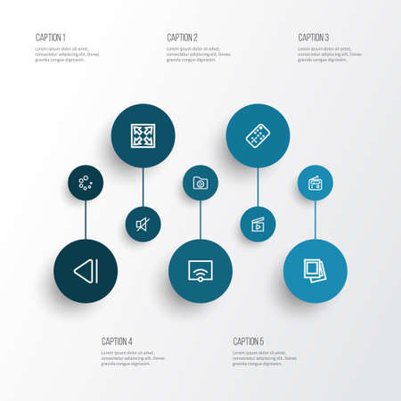 Multimedia Outline Icons Set. Collection Of Tuner, Signal, Cinema Clap And Other Elements