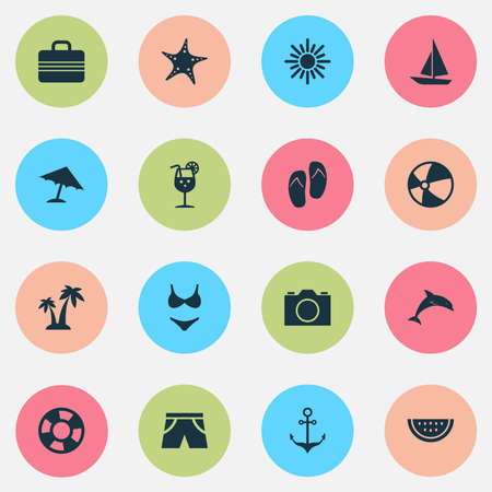 Season Icons Set. Collection Of Sea Star, Baggage, Smelting And Other Elements Illustration