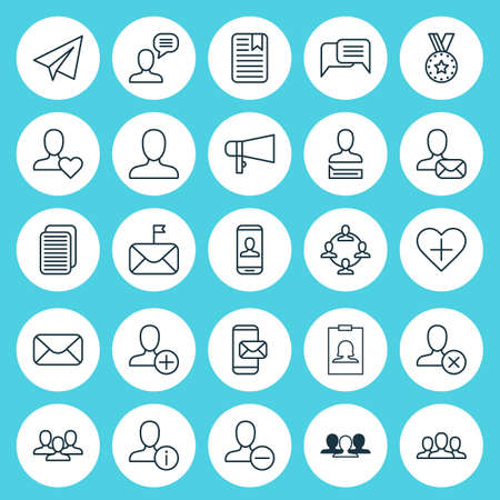 Social Icons Set. Collection Of Add, Communication, Group And Other Elements Çizim