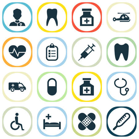 항생제 아이콘을 설정합니다. 마약, 치유 사, 통증 및 기타 요소의 컬렉션