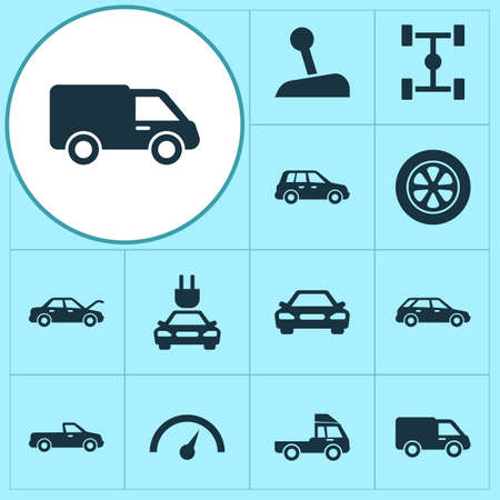 Automobile Icons Set. Collection Of Carriage, Fixing, Wheel And Other Elements