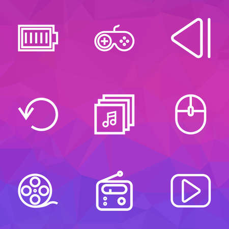 move controller: Media Outline Icons Set. Collection Of Play, Filmstrip, Control Device And Other Elements. Also Includes Symbols Such As Controller, Film, Radio.