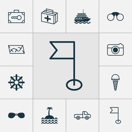 case: Tourism Icons Set. Collection Of Ensign, Reef, Steering Wheel And Other Elements. Also Includes Symbols Such As Ensign, Pennant, Wear.