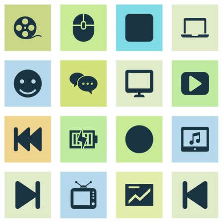 computerized: Multimedia Icons Set. Collection Of Energy, Screen, Notebook And Other Elements. Also Includes Symbols Such As Monitor, Backward, End.