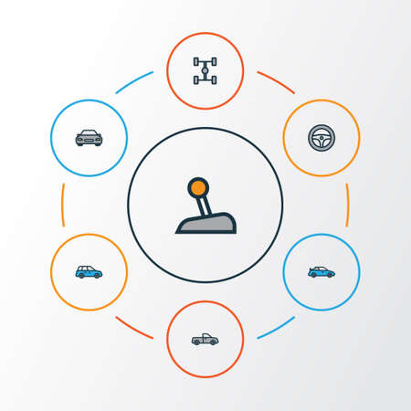 Auto Colorful Outline Icons Set. Collection Of Auto, Carcass, Rudder And Other Elements Illustration