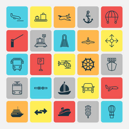 steel industry: Vehicle Icons Set. Collection Of Anchor, Cruise, Travel Boat And Other Elements Illustration