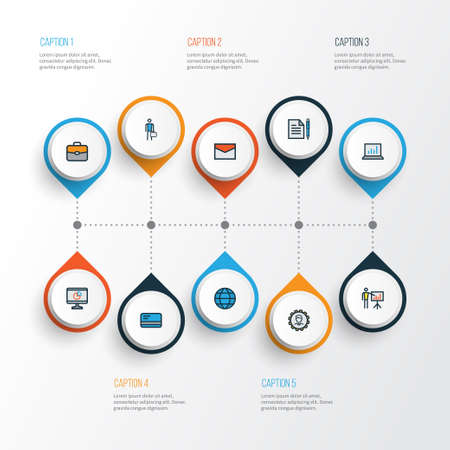case: Trade Colorful Outline Icons Set. Collection Of Worker, Pie Chart, Administrator And Other Elements