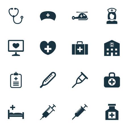 抗生物質のアイコンを設定します。ペック、リトリート、総合病院、その他の要素のコレクションです。またケース、リトリート、温度計などの記