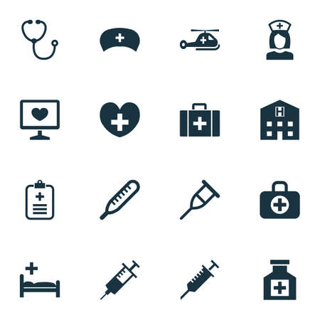 Antibiotic Icons Set. Collection Of Peck, Retreat, Polyclinic And Other Elements. Also Includes Symbols Such As Case, Retreat, Thermometer. Ilustrace