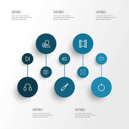 melodist: Media Outline Icons Set. Collection Of Audio, Film, Target And Other Elements.