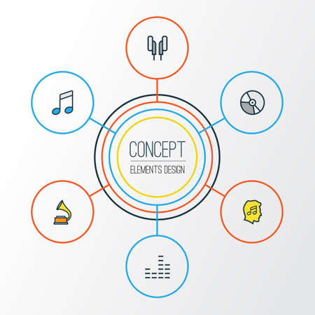 Audio Colorful Outline Icons Set. Collection Of Headphones, Gramophone, Circle And Other Elements. Illustration