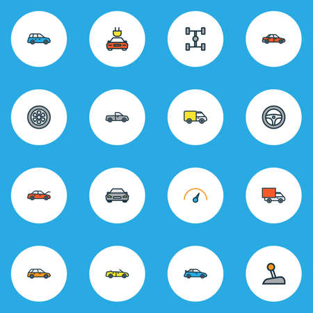 Auto Colorful Outline Icons Set. Collection Of Sedan, Sport, Electric And Other Elements. Also Includes Symbols Such As Car, Scheme, Bus. 向量圖像