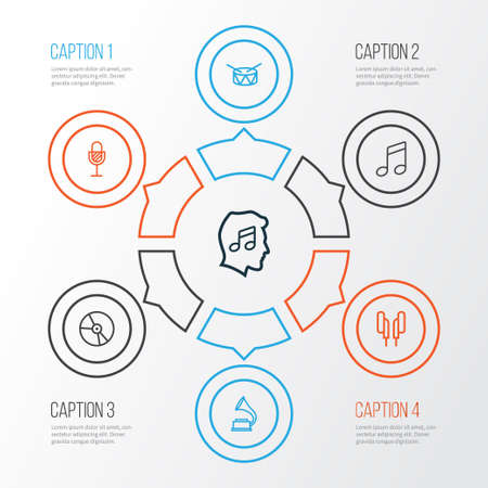 Multimedia Outline Icons Set. Collection Of Headphones, Phonograph, Melody And Other Elements. Also Includes Symbols Such As Music, Barrel, Lover.