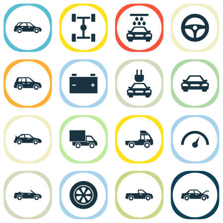 automotive industry: Auto Icons Set. Collection Of Crossover, Convertible Model, Plug And Other Elements Illustration