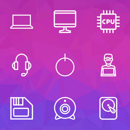 Hardware Outline Icons Set. Collection Of Hard Disk, Camera, Laptop And Other Elements