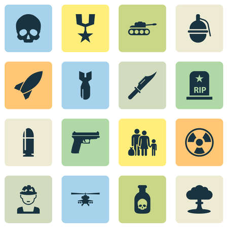 bane: Warfare Icons Set. Collection Of Military, Panzer, Rip And Other Elements. Also Includes Symbols Such As Fatal, Chopper, Rip. Illustration