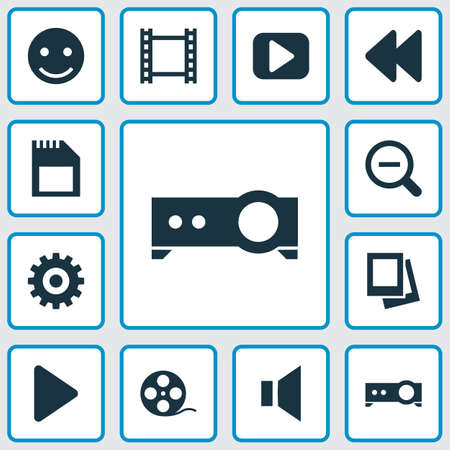 silent: Music Icons Set. Collection Of Silence, Film, Gear And Other Elements. Also Includes Symbols Such As Setting, Cogwheel, Frame. Illustration