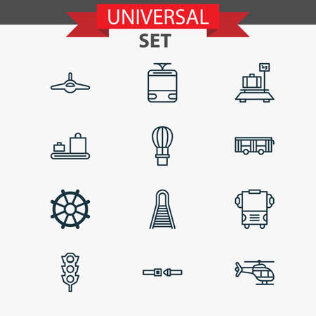 heaviness: Shipping Icons Set. Collection Of Baggage, Baggage Carousel, Transport And Other Elements. Also Includes Symbols Such As Air, Copter, Balloon. Illustration