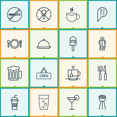 explicit: Eating Icons Set. Collection Of Tea, Ale, Board And Other Elements. Also Includes Symbols Such As Martini, No, Ale. Illustration