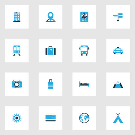 five star: Exploration Colorful Icons Set. Collection Of Train, Signpost, Hotel And Other Elements. Also Includes Symbols Such As Signpost, Train, Passport.
