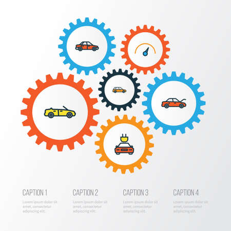 Automobile Colorful Outline Icons Set. Collection Of Bonnet, Sport, Speed And Other Elements. Also Includes Symbols Such As Sedan, Counter, Wagon. Illustration
