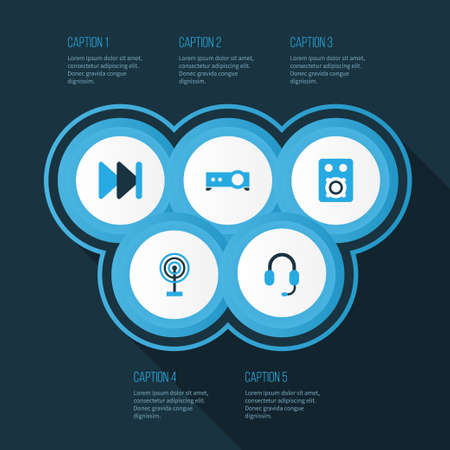power projection: Music Colorful Icons Set. Collection Of Presentation, Forward, Headset And Other Elements Illustration